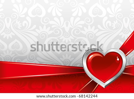 beautiful vector background on Valentine's Day with ornaments and heart - stock vector