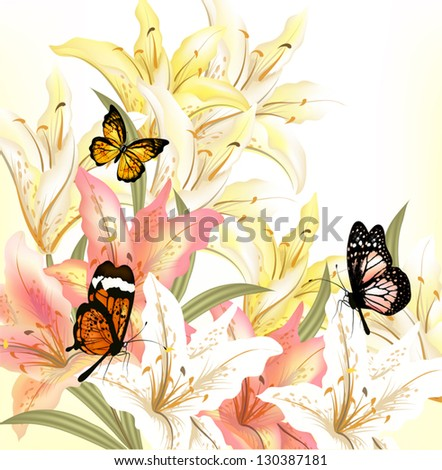 Beautiful vector background with lily in gentle pastel colors - stock vector