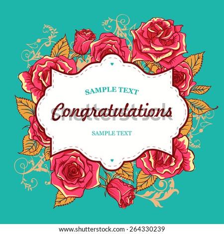 Beautiful Vector Bright Roses Invitation Card - stock vector