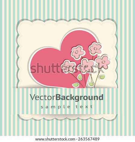 Beautiful vector card with hearts and flowers. - stock vector