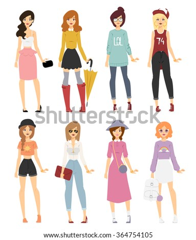 Beautiful vector cartoon fashion girl models look standing over white background. Cartoon fashion young woman. Modern beauty look. Some modern clothes - stock vector