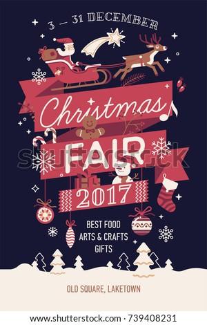 Beautiful Vector Christmas Fair Poster Banner Stock Vector 739408231