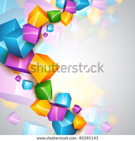 beautiful vector colorful cube background template - stock vector