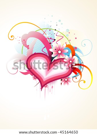 beautiful vector colorful heart design with beautiful floral round it
