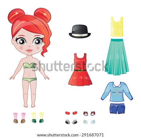 Beautiful Vector Dress Paper Doll Body Stock Vector 291687071 ...