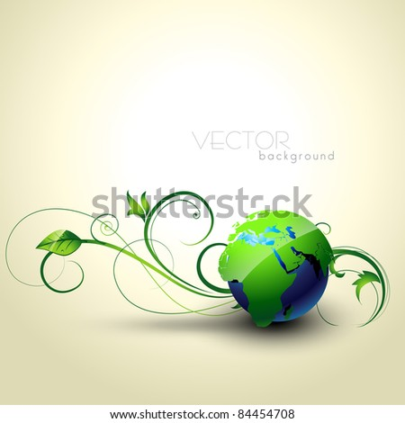 beautiful vector earth with floral coming out - stock vector