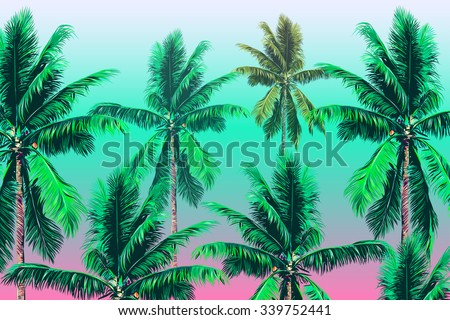Beautiful vector floral tropical background with palm trees - stock vector