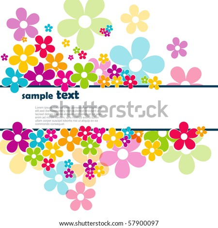 beautiful vector flowers with space for your text - stock vector