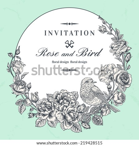Beautiful vector frame with roses and birds in vintage style.  - stock vector