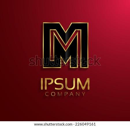 Beautiful vector graphic black alphabet with gold rim / letter M / symbol - stock vector