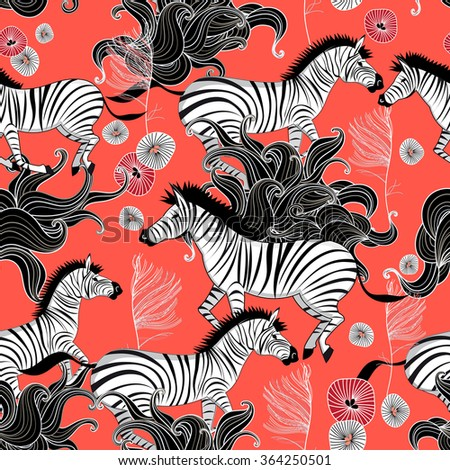 Beautiful vector graphic pattern of running zebras - stock vector