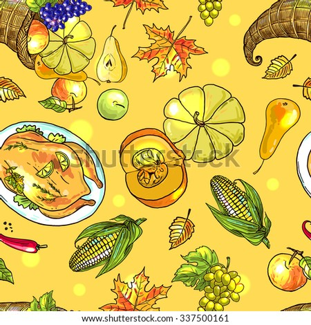Beautiful vector hand drawn seamless pattern thanksgiving food