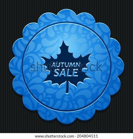 Beautiful vector icon Autumn Sale on the wonderful flower pattern - stock vector