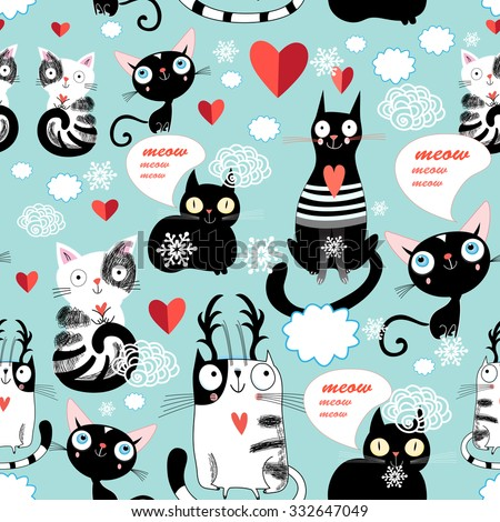 Beautiful vector illustration of a cat lover pattern - stock vector