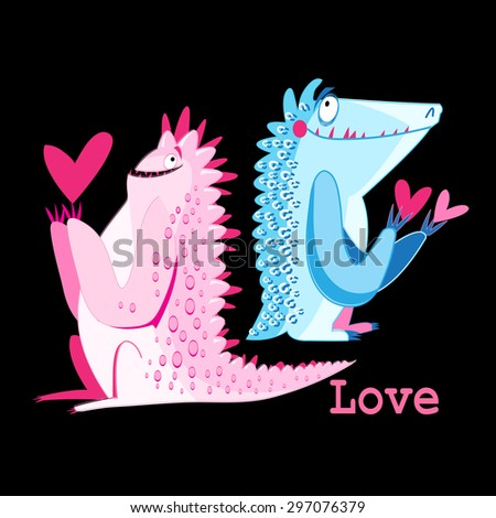 Beautiful vector illustration of amusing multi-colored monsters in love - stock vector