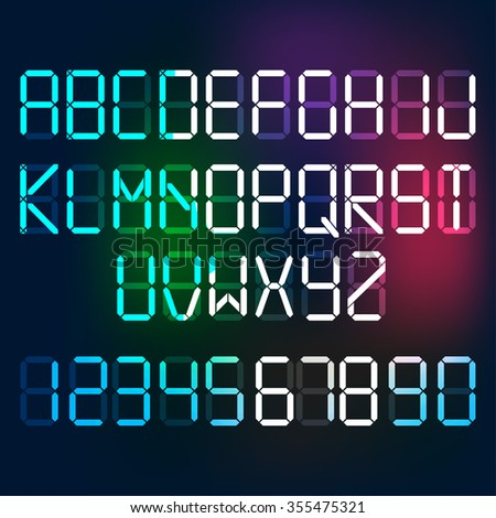 Beautiful vector illustration of digital glowing letters and numerals. Editable graphic illuminated alphabet useful for countdown, clock, electronic signboard or tableau creative design. - stock vector