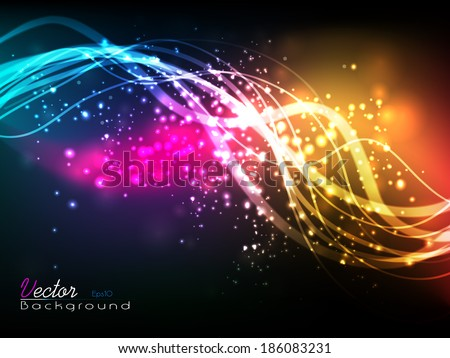 Beautiful Vector illustration of futuristic abstract glowing background resembling motion blurred neon light curves. Eps 10. - stock vector