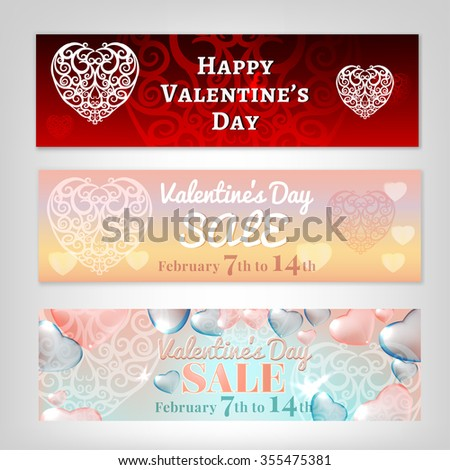 Beautiful vector illustration of purple and pink Valentines banners. Romantic creative concept. Poster, postcard, flyer, advertisement or leaflet graphic background. - stock vector