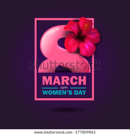 beautiful vector illustration on a theme 8 March, International Women's Day, spring, flowers - stock vector