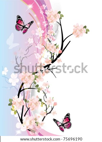 beautiful vector illustration with colorful butterfly - stock vector