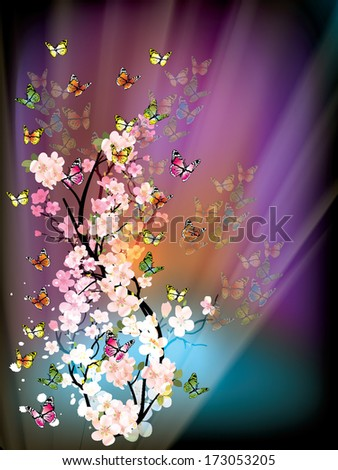 beautiful vector illustration with colorful butterflys - stock vector