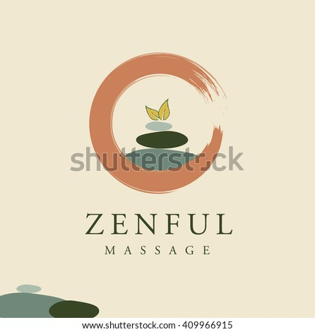 BEAUTIFUL VECTOR LOGO / SYMBOL OF THREE ROCKS AND A PLANT IN A CIRCLE - stock vector