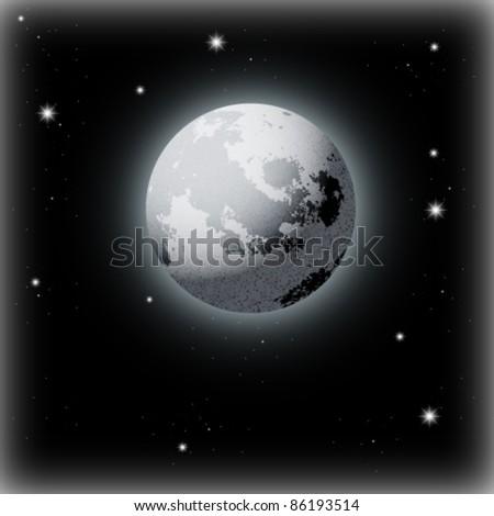 Beautiful Vector Moon Illustration - stock vector