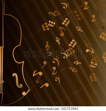 Beautiful Vector musical illustration of golden notes with guitar
