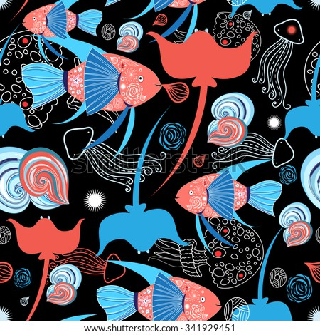 Beautiful vector pattern on the marine theme with a stingray and fish - stock vector