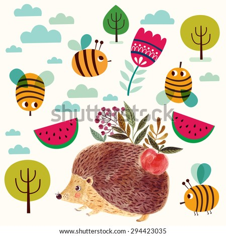 Beautiful vector pattern with adorable cute hedgehog in watercolor technique. Beautiful card. - stock vector