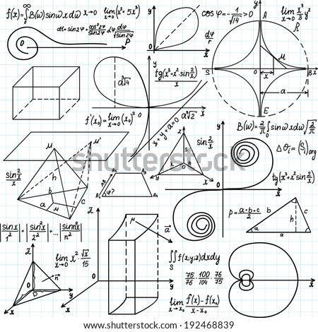 "Beautiful vector pattern with mathematical figures and calculations, ""handwritten on the copybook paper"" - stock vector"