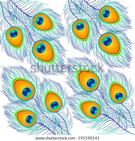 Beautiful vector peacock feathers background. EPS 10 - stock vector
