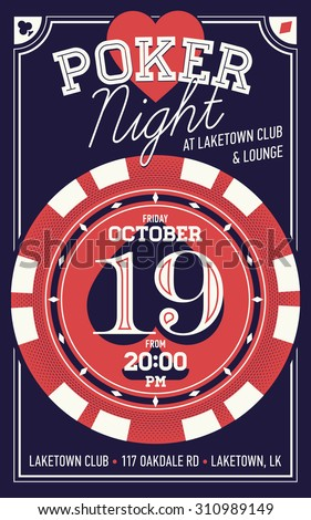 Beautiful vector poker night invitation printable poster or flyer with cool lettering and stylish poker chip. Ideal for printable gaming event promotion in clubs, bars, pubs and public places - stock vector