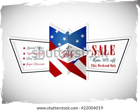 beautiful vector Sale abstract for 4th of July upto 50% Off with nice and creative national themed design in a gradient white background.