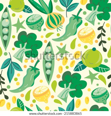 Beautiful vector seamless pattern of vegetables. Bright illustration, can be used for menu, invitations, greeting card, wallpaper and textile. - stock vector