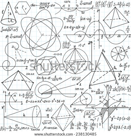 "Beautiful vector seamless pattern with mathematical figures, calculations and plots, ""handwritten on the copybook paper"" - stock vector"
