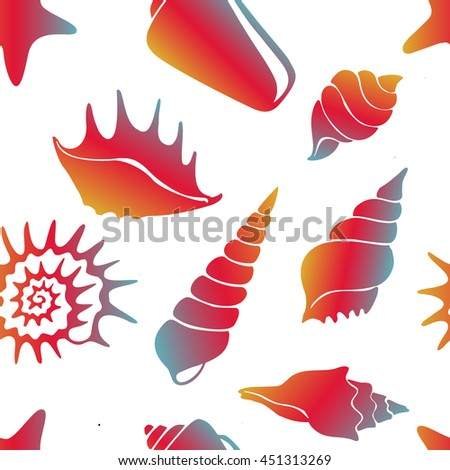 Beautiful vector seamless pattern with sea shells. Nautical theme illustration for paper design, textile, background. Ocean elements on white background.
