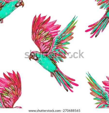Beautiful vector seamless tropical floral pattern background with watercolor parrots, exotic fashionable print on white background