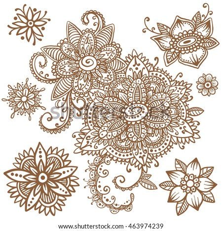 Beautiful vector set of mehndi style henna floral elements. Hand drawn flowers and paisley. Flash temporary tattoo. Mehndi design collection based on traditional indian ornaments. Doodle ornaments.