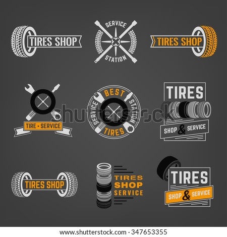 Beautiful vector set of the tire shop and service logotypes. Modern graphic style. Transportation automotive concept. Digital pictogram collection useful for automobile industry design - stock vector