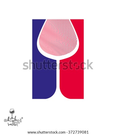 Beautiful vector sophisticated wine goblet, stylish alcohol theme illustration. Artistic wineglass, romantic rendezvous idea. Lifestyle graphic design element. - stock vector
