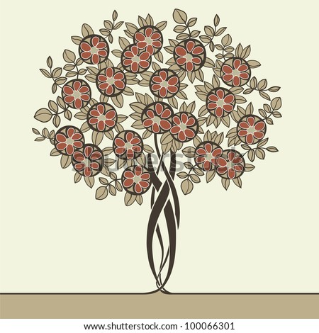 beautiful vector tree drawn in art nouveau style - stock vector