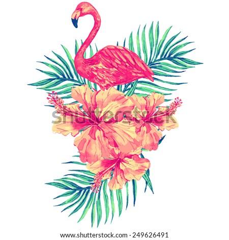 Beautiful vector tropical jungle floral illustration with watercolor pink flamingo, tropical flowers and palm leaves, hibiscus - stock vector
