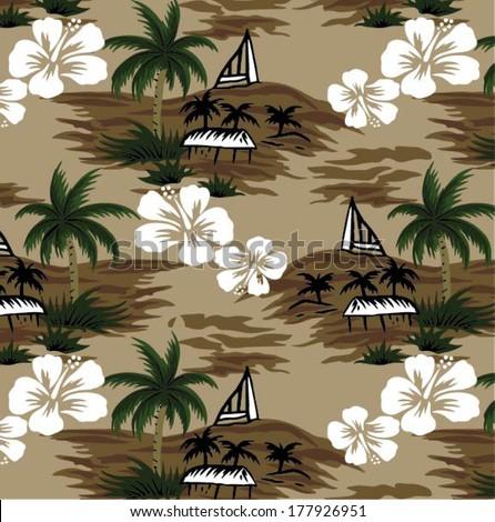 beautiful vector tropical.Seamless beach background - stock vector