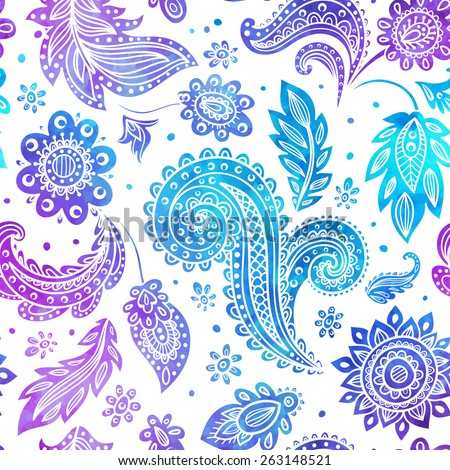 Beautiful vector watercolor vintage floral seamless blue and pink  - stock vector