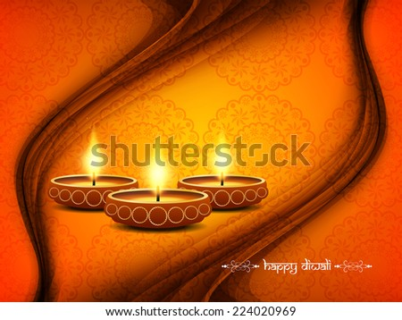 Beautiful vector wave style background design for Diwali festival with lamps.