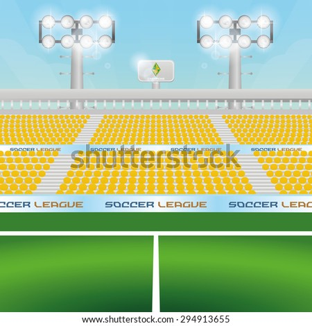 Beautiful view of a soccer stadium. Vector illustration