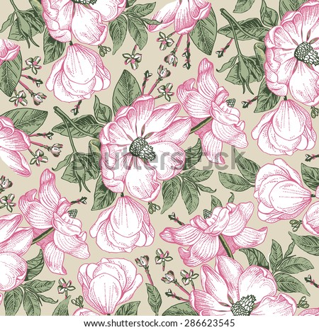 Beautiful vintage background with white flowers. Freehand. Drawing, engraving. Blooming flowers of wild rose. Vector stock Illustration. Rosehips. Brier. - stock vector