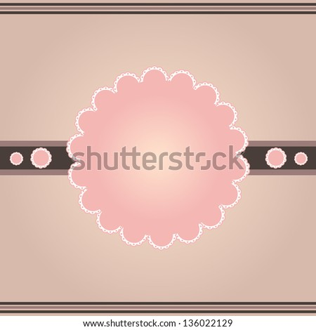 Beautiful vintage brown pink white lace frame - stock vector