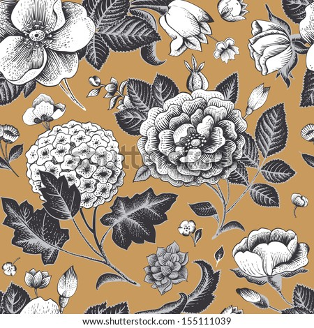 Beautiful vintage floral seamless pattern. Garden roses, hydrangea and dog-rose flower on a gold background. Vector illustration. Black and white flowers on gold. - stock vector